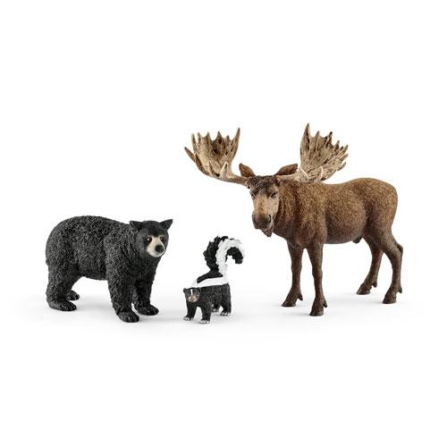 schleich 北米の森に住む動物(ブラックベア/スカンク/ヘラジカ)