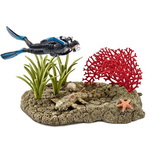 42328 schleich サンゴ礁とダイバー プレイセット(廃盤)